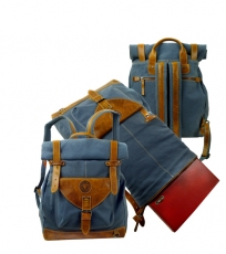 Roll-Rucksack Postbag  / SAILCLOTH-(26)-Canvas-blue