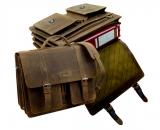 4 t lg. Mappe  / OLD-SCHOOL - (25)-vintage-brown